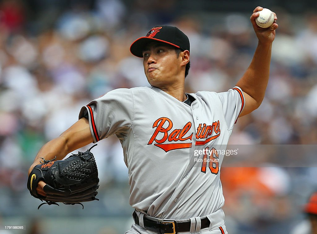 Pitcher <a gi-track='captionPersonalityLinkClicked' href=/galleries/search?phrase=Wei-Yin+Chen&family=editorial&specificpeople=8958243 ng-click='$event.stopPropagation()'>Wei-Yin Chen</a> of the Baltimore Orioles delivers a pitch during the first inning against the New York Yankees in a MLB baseball game at Yankee Stadium on September 1, 2013 in the Bronx borough of New York City.
