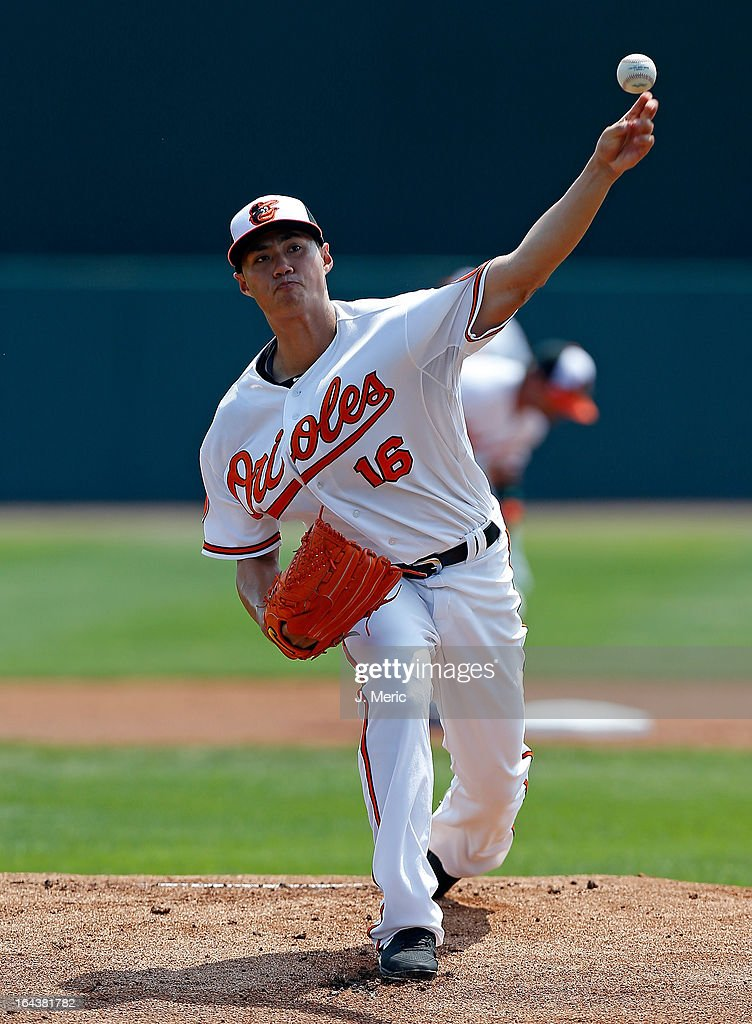 Pitcher <a gi-track='captionPersonalityLinkClicked' href=/galleries/search?phrase=Wei-Yin+Chen&family=editorial&specificpeople=8958243 ng-click='$event.stopPropagation()'>Wei-Yin Chen</a> #16 of the Baltimore Orioles pitches against the Philadelphia Phillies during a Grapefruit League Spring Training Game at Ed Smith Stadium on March 23, 2013 in Sarasota, Florida.