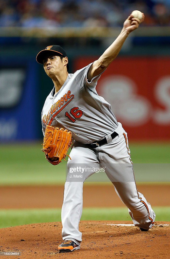 Pitcher <a gi-track='captionPersonalityLinkClicked' href=/galleries/search?phrase=Wei-Yin+Chen&family=editorial&specificpeople=8958243 ng-click='$event.stopPropagation()'>Wei-Yin Chen</a> #16 of the Baltimore Orioles pitches against the Tampa Bay Rays during the game at Tropicana Field on October 1, 2012 in St. Petersburg, Florida.
