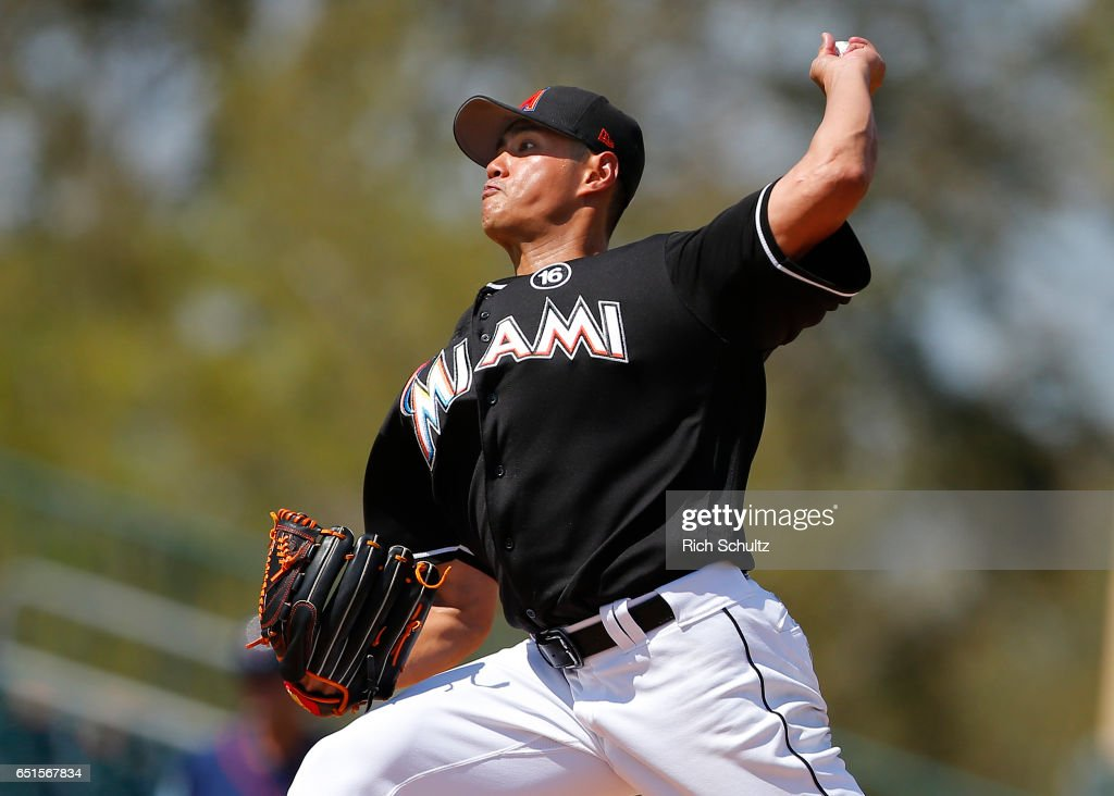 Pitcher Wei-Yin Chen #54 of the Miami Marlins delivers a pitch against of the Minnesota Twins during a spring training baseball game at Roger Dean Stadium on March 10, 2017 in Jupiter, Florida.
