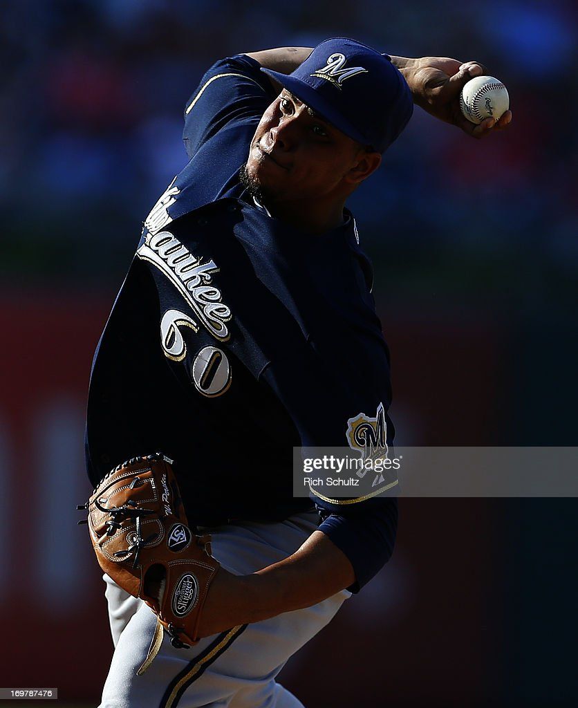 Pitcher Wily Peralta #60 of the Milwaukee Brewers delivers a pitch against the Philadelphia Phillies in a MLB baseball game on June 1, 2013 at Citizens Bank Park in Philadelphia, Pennsylvania.