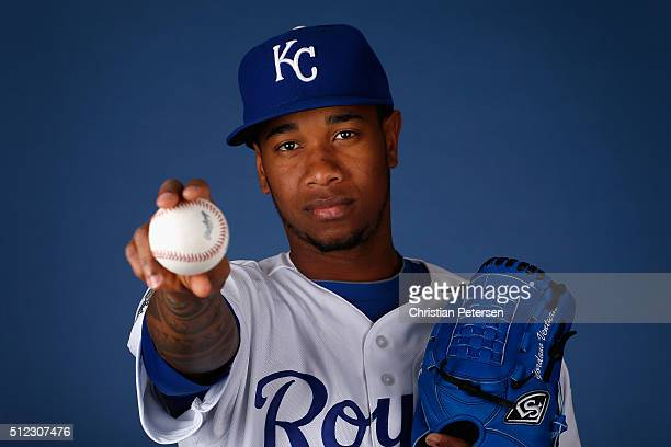 Pitcher Yordano Ventura of the Kansas City Royals poses for a portrait during spring training photo day at Surprise Stadium on February 25 2016 in...