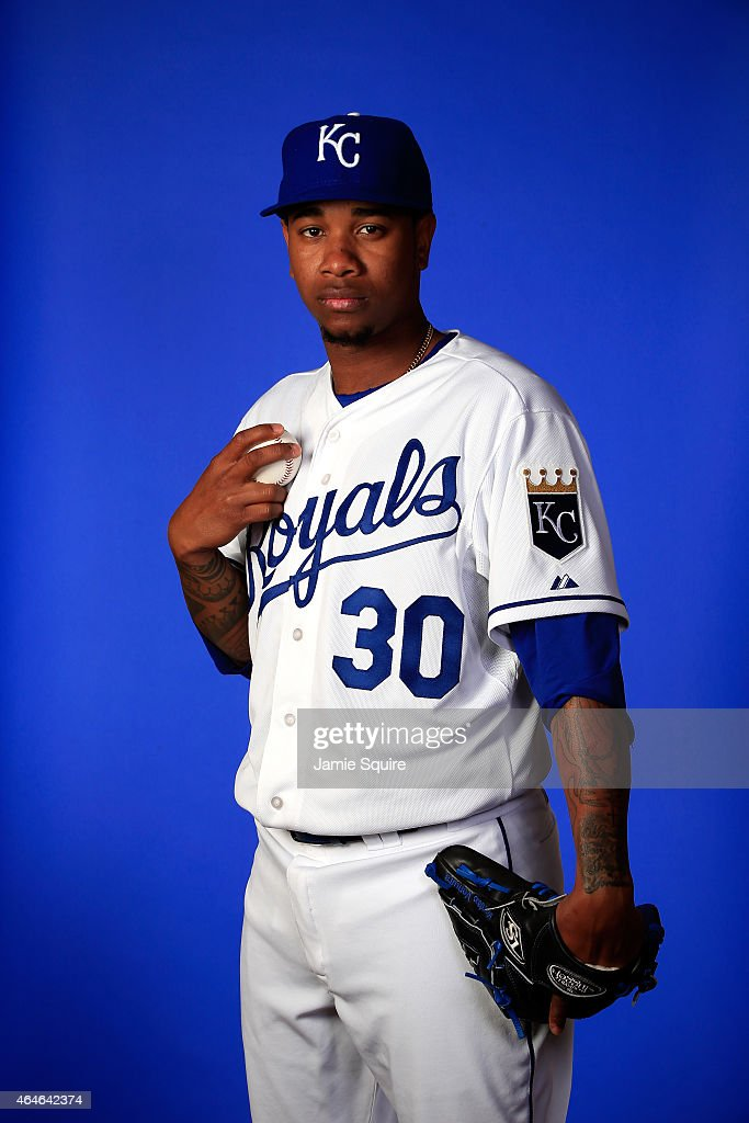 Pitcher <a gi-track='captionPersonalityLinkClicked' href=/galleries/search?phrase=Yordano+Ventura&family=editorial&specificpeople=9527243 ng-click='$event.stopPropagation()'>Yordano Ventura</a> #30 poses during Kansas City Royals Photo Day on February 27, 2015 in Surprise, Arizona.