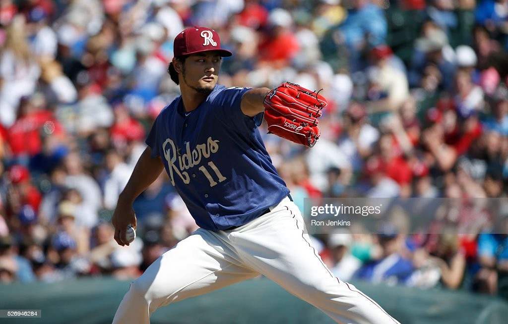 Pitcher Yu Darvish #11 of the Frisco RoughRiders throws against the Corpus Christi Hooks in the first inning at Dr Pepper Ballpark on May 1, 2016 in Frisco, Texas. Darvish is on Major League rehabilitation assignment with the RoughRiders, the Double-A affiliate of the Texas Rangers.