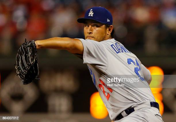 Pitcher Yu Darvish of the Los Angeles Dodgers delivers a pitch during the second inning of a game against the Philadelphia Phillies at Citizens Bank...