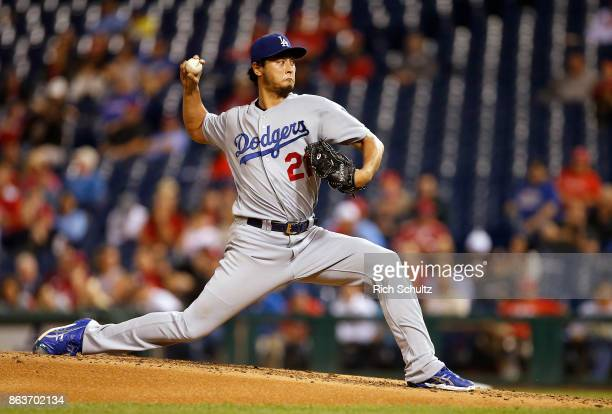 Pitcher Yu Darvish of the Los Angeles Dodgers in action during the fifth inning of a game against the Philadelphia Phillies at Citizens Bank Park on...