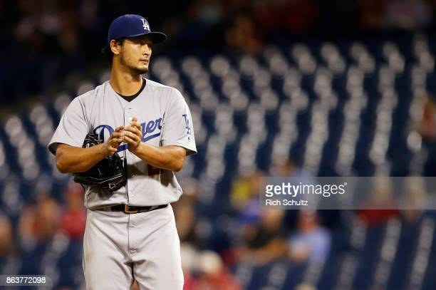 Pitcher Yu Darvish of the Los Angeles Dodgers in action during the sixth inning of a game against the Philadelphia Phillies at Citizens Bank Park on...