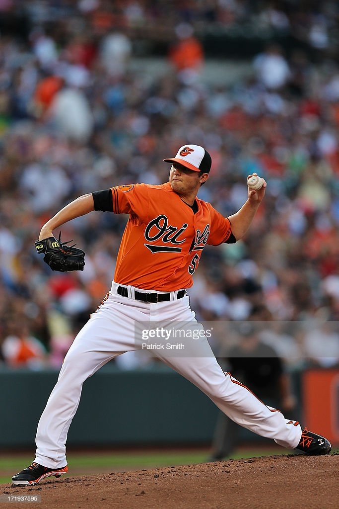 Pitcher <a gi-track='captionPersonalityLinkClicked' href=/galleries/search?phrase=Zach+Britton&family=editorial&specificpeople=7091505 ng-click='$event.stopPropagation()'>Zach Britton</a> #53 Baltimore Orioles works the first inning against the New York Yankees at Oriole Park at Camden Yards on June 29, 2013 in Baltimore, Maryland.