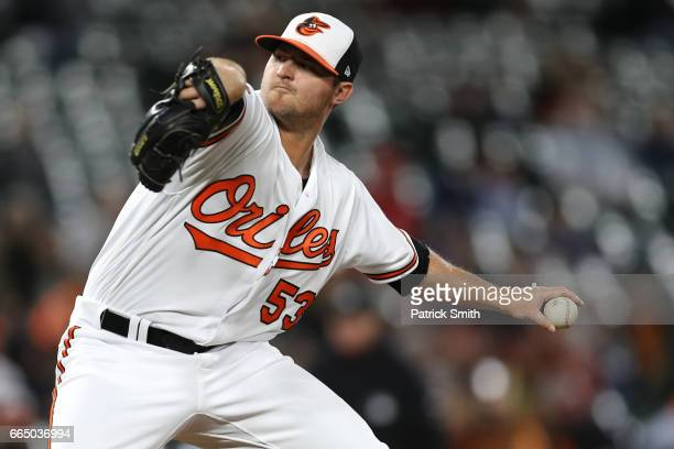 Pitcher Zach Britton of the Baltimore Orioles works the ninth inning against the Toronto Blue Jays at Oriole Park at Camden Yards on April 5 2017 in...
