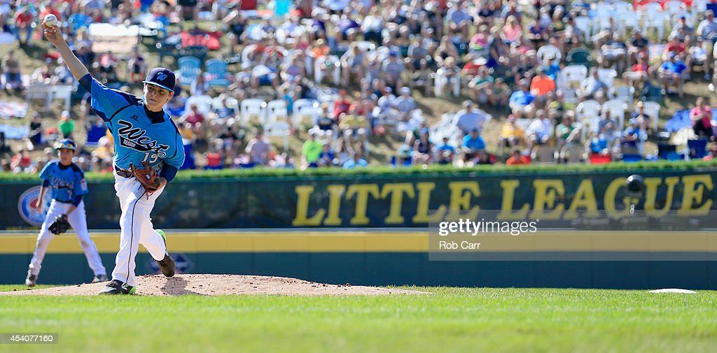 Pitcher Zach Hare #19 of the West Team from Las Vegas, Nevada throws to a Team Japan batter during the Little League World Series third place game at Lamade Stadium on August 24, 2014 in South Williamsport, Pennsylvania.