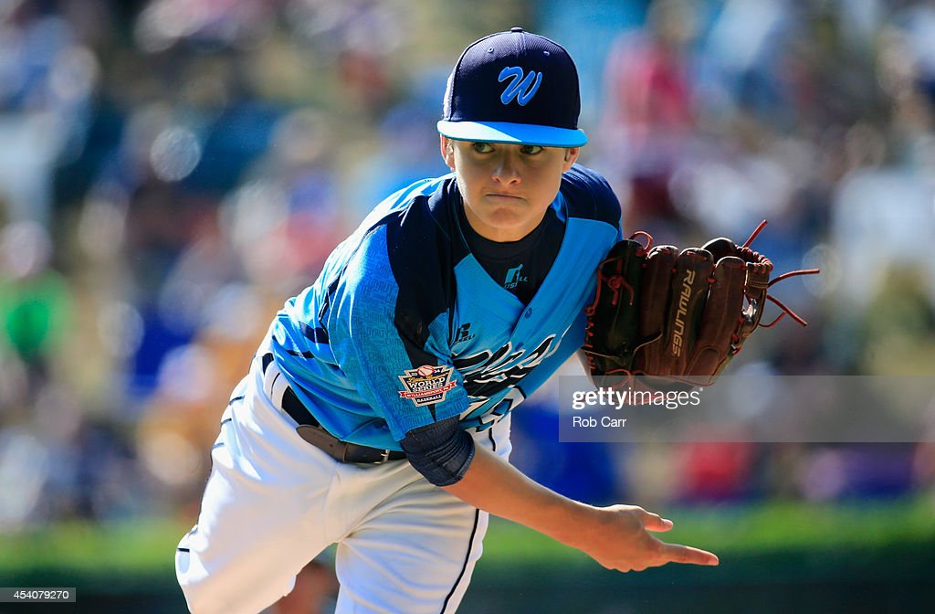 Pitcher Zach Hare #19 of the West Team from Las Vegas, Nevada throws to a Team Japan batter during the first inning of the Little League World Series third place game at Lamade Stadium on August 24, 2014 in South Williamsport, Pennsylvania.