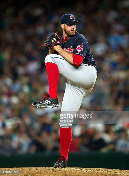 Pitcher Zach McAllister of the Cleveland Indians delivers a pitch during MLB baseball action against the Seattle Mariners at Safeco Field on May 30...