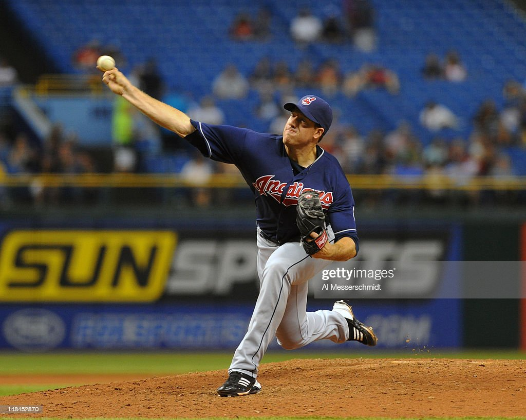 Pitcher <a gi-track='captionPersonalityLinkClicked' href=/galleries/search?phrase=Zach+McAllister&family=editorial&specificpeople=6816291 ng-click='$event.stopPropagation()'>Zach McAllister</a> #34 of the Cleveland Indians starts against the Tampa Bay Rays July 16, 2012 at Tropicana Field in St. Petersburg, Florida.