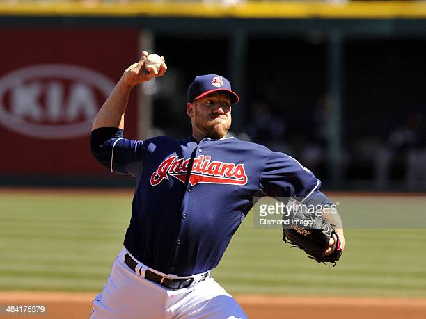 Pitcher Zach McAllister of the Cleveland Indians throws a pitch during the first game of a doubleheader against the San Diego Padres on April 9 2014...