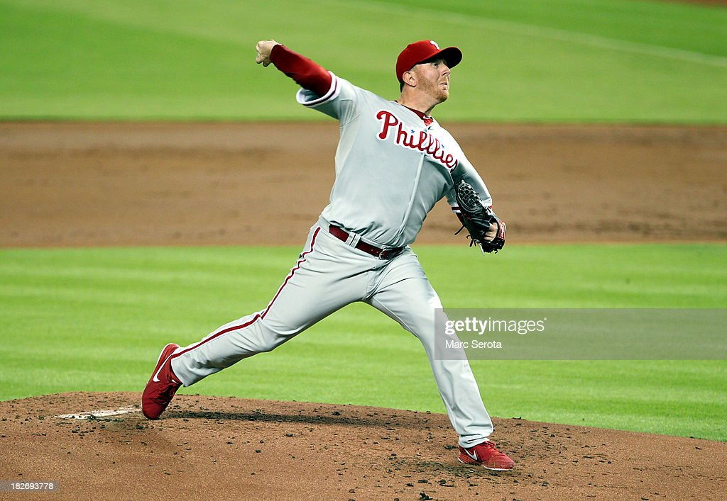 Pitcher Zach Minor #45 of the Philadelphia Phillies throws against the Miami Marlins at Marlins Park on September 24, 2013 in Miami, Florida. (Photo by Marc Serota/Getty Images) ~~~