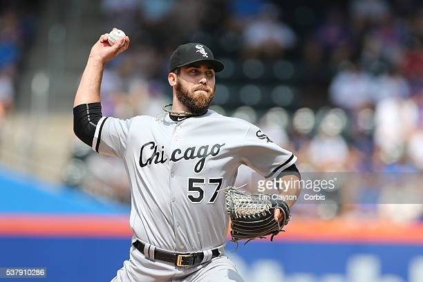 Pitcher Zach Putnam of the Chicago White Sox during the Chicago White Sox Vs New York Mets regular season MLB game at Citi Field on June 01 2016 in...