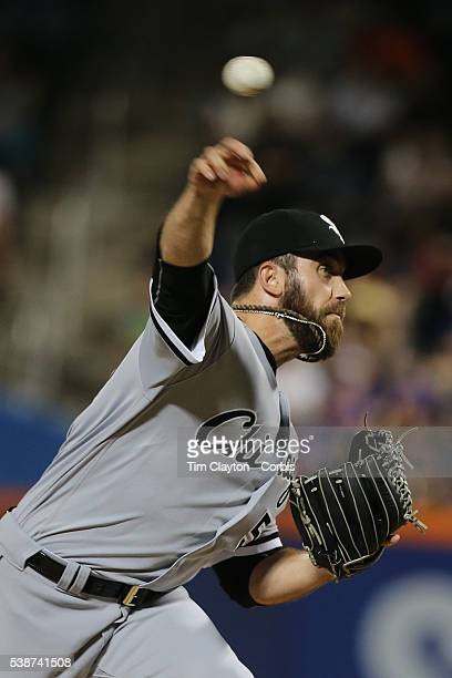 Pitcher Zach Putnam of the Chicago White Sox pitching during the Chicago White Sox Vs New York Mets regular season MLB game at Citi Field on May 31...
