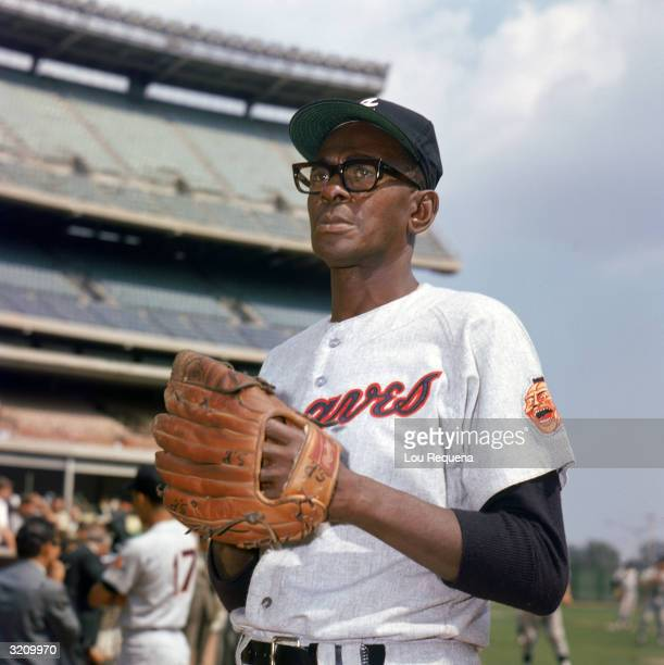 Pitcher/coach Leroy 'Satchel' Paige of the Atlanta Braves poses for a picture circa 1968