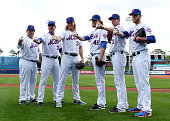 Pitchers Bartolo Colon Matt Harvey Noah Syndergaard Jacob deGrom Steven Matz and Zack Wheeler pose for photos during media day at Traditions Field on...