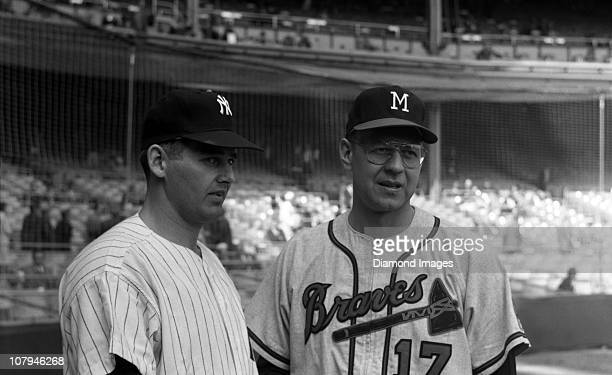 Pitchers Don Larsen of the New York Yankees and Bob Rush of the Milwaukee Braves pose for a portrait prior to game three of the World Series on...