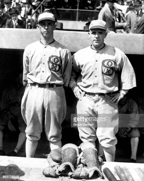 Pitchers Lefty Williams and Eddie Cicotte of the Chicago White Sox pose for a portrait circa 1919 at Comiskey Park in Chicago Illinois