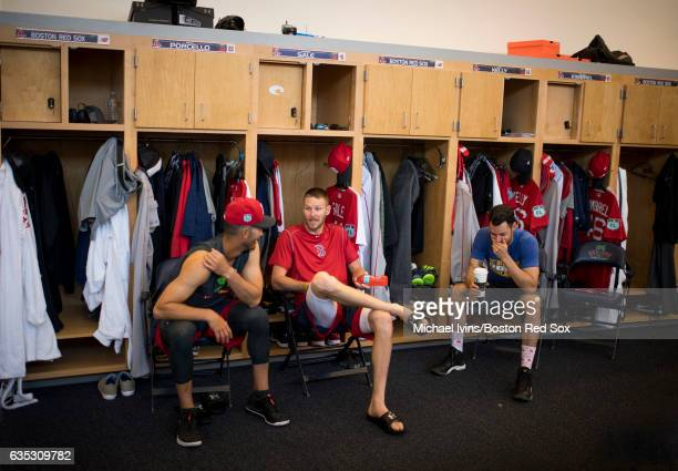 Pitchers Rick Porcello Chris Sale and Joe Kelly of the Boston Red Sox sit by their lockers before a workout on February 14 2017 at jetBlue Park in...