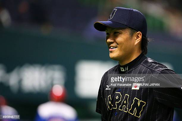 PitcherTakahiro Norimoto of Japan in action during in the bottom half of the seventh inning during the sendoff friendly match for WBSC Premier 12...