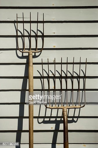 Pitchforks beside a barn : Stock Photo