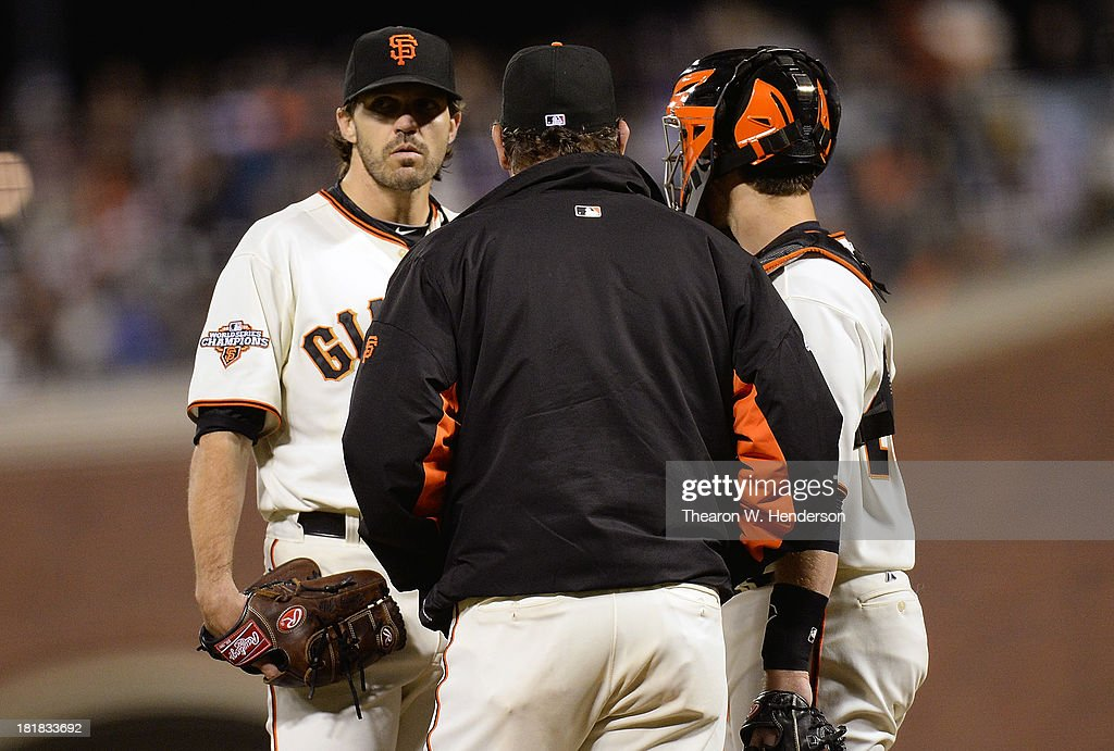 Pitching coach <a gi-track='captionPersonalityLinkClicked' href=/galleries/search?phrase=Dave+Righetti&family=editorial&specificpeople=210835 ng-click='$event.stopPropagation()'>Dave Righetti</a> comes out to talk with pitcher <a gi-track='captionPersonalityLinkClicked' href=/galleries/search?phrase=Barry+Zito&family=editorial&specificpeople=202943 ng-click='$event.stopPropagation()'>Barry Zito</a> #75 after Zito gave up and rbi double to Matt Kemp #27 of the Los Angeles Dodgers (not pictured) during the fourth inning at AT&T Park on September 25, 2013 in San Francisco, California.