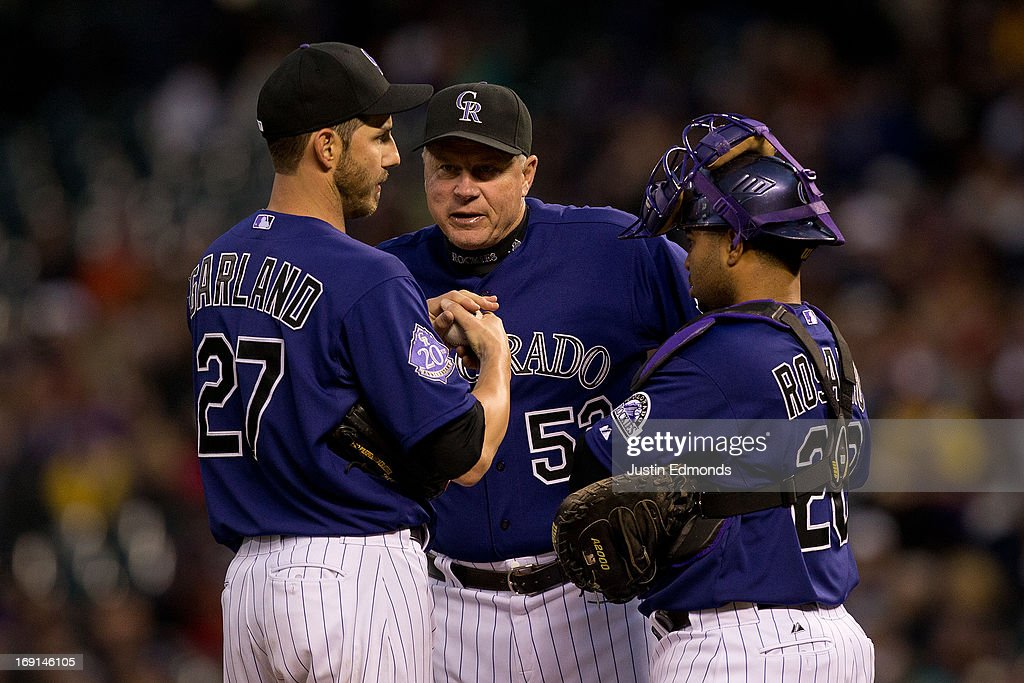 Pitching coach Jim Wright #52 talks with starting pitcher <a gi-track='captionPersonalityLinkClicked' href=/galleries/search?phrase=Jon+Garland&family=editorial&specificpeople=209155 ng-click='$event.stopPropagation()'>Jon Garland</a> #27 and catcher <a gi-track='captionPersonalityLinkClicked' href=/galleries/search?phrase=Wilin+Rosario&family=editorial&specificpeople=5734314 ng-click='$event.stopPropagation()'>Wilin Rosario</a> #20 during the third inning against the Arizona Diamondbacks at Coors Field on May 20, 2013 in Denver, Colorado. The Diamondbacks defeated the Rockies 5-1.