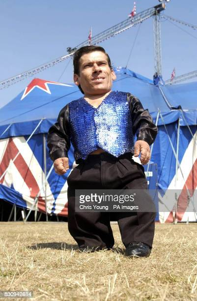 Pitchu a circus entertainer with the Cottle and Austen Circus thought to be the world's smallest man stands outside the big top as he starts his...