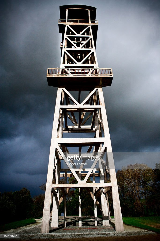 Pithead in stormy weather : Stock Photo