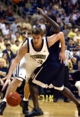 Pittsburgh Panthers' Aaron Gray drives on Howard University Bison Daniel Wright during action at the Petersen Events Center on November 20 2004 in...