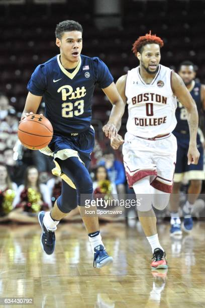 Pittsburgh Panthers guard Cameron Johnson brings the ball up court During the Pittsburgh Panthers game against the Boston College Eagles on February...