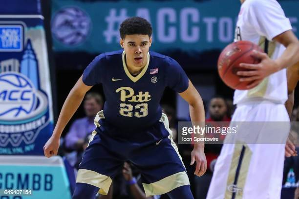 Pittsburgh Panthers guard Cameron Johnson during the first half of the 2017 New York Life ACC Tournament first round game between the Georgia Tech...