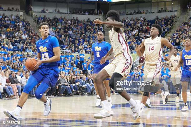 Pittsburgh Panthers guard Cameron Johnson looks to pass the ball during a basketball game between Pittsburgh Panthers and Florida State Seminoles on...