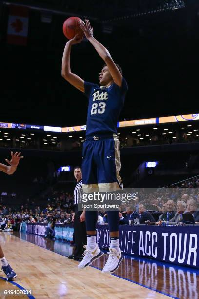 Pittsburgh Panthers guard Cameron Johnson shoots during the first half of the 2017 New York Life ACC Tournament first round game between the Georgia...