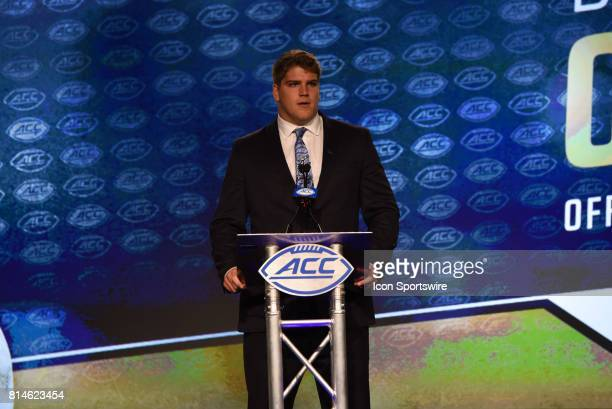 Pittsburgh Panthers offensive tackle Brian O'Neill addresses the media on day 2 of the ACC Football Kickoff at the Westin Hotel in Charlotte NC on...