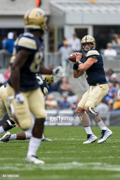 Pittsburgh Panthers Quarterback Max Browne looks downfield to pass during the game between the Youngstown State Penguins and the Pittsburgh Panthers...