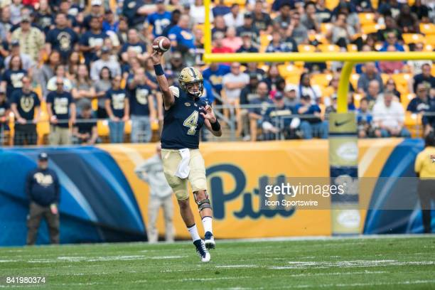 Pittsburgh Panthers Quarterback Max Browne throws a pass during the game between the Youngstown State Penguins and the Pittsburgh Panthers on...