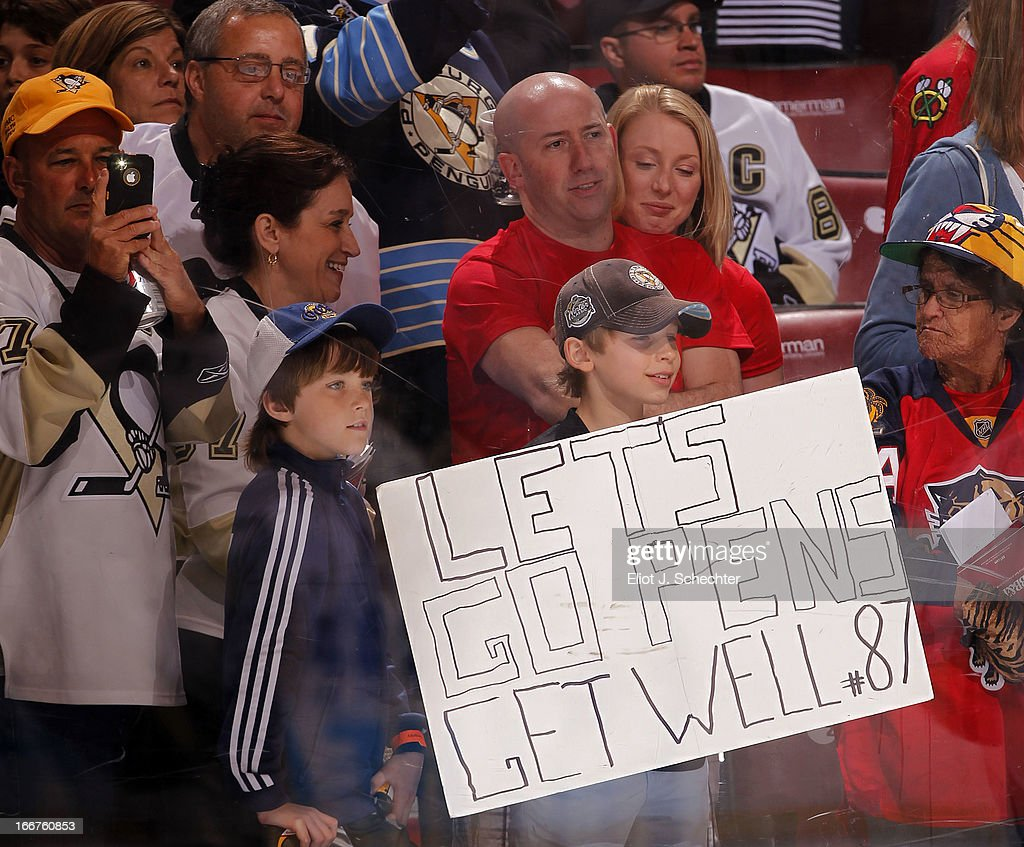 Pittsburgh Penguin fans send Sidney Crosby #87 get well wishes prior to the start of the game against the Florida Panthers at the BB&T Center on April 13, 2013 in Sunrise, Florida.