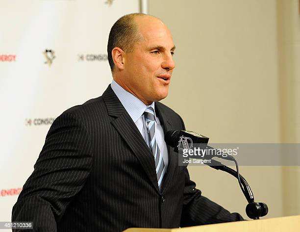 Pittsburgh Penguins Assistant Coach Rick Tocchet speaks during an introductory press conference on June 25 2014 at Consol Energy Center in Pittsburgh...