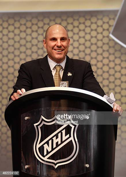Pittsburgh Penguins Assistant Coach Rick Tocchet speaks during the 2014 NHL Entry Draft at Wells Fargo Center on June 27 2014 in Philadelphia...