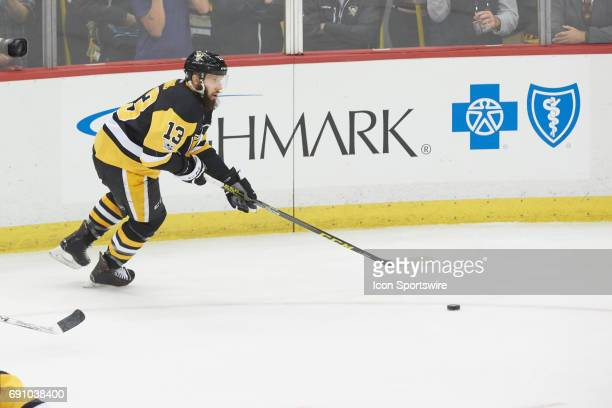 Pittsburgh Penguins center Nick Bonino handles the puck during the NHL Stanley Cup Finals Game 2 between the Nashville Predators and the Pittsburgh...