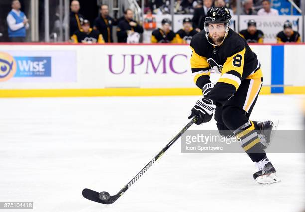 Pittsburgh Penguins Defenseman Brian Dumoulin moves the puck during the third period in the NHL game between the Pittsburgh Penguins and the Buffalo...