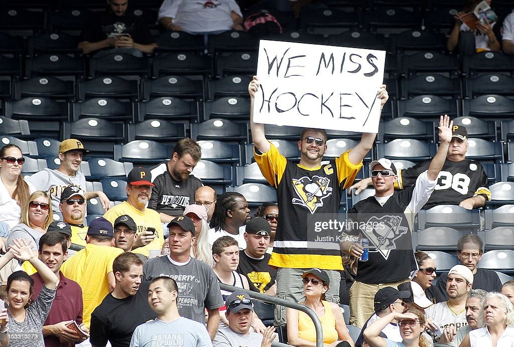 A Pittsburgh Penguins fan expresses himself during the game between the Pittsburgh Pirates and the Atlanta Braves on October 3, 2012 at PNC Park in Pittsburgh, Pennsylvania.