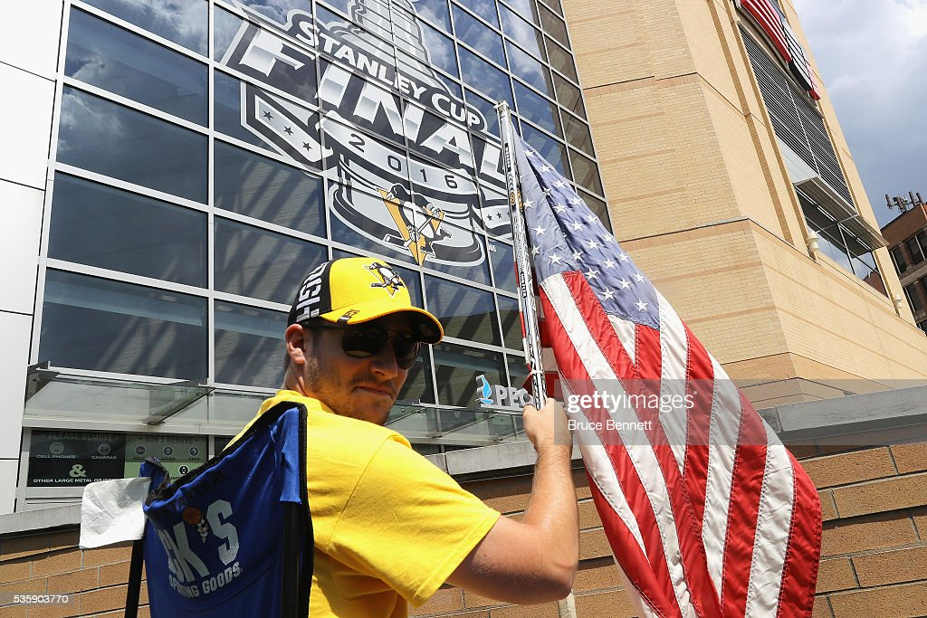 Pittsburgh Penguins fan Nick Comito of Greensburg, PA poses outside of Consol Energy Center prior to Game One of the 2016 NHL Stanley Cup Final between the Pittsburgh Penguins and the San Jose Sharks on May 30, 2016 in Pittsburgh, Pennsylvania.