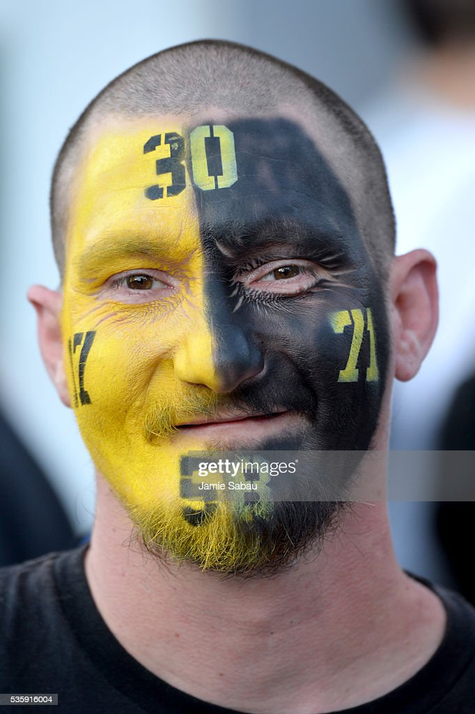 A Pittsburgh Penguins fan poses prior to Game One of the 2016 NHL Stanley Cup Final between the Pittsburgh Penguins and the San Jose Sharks at Consol Energy Center on May 30, 2016 in Pittsburgh, Pennsylvania.