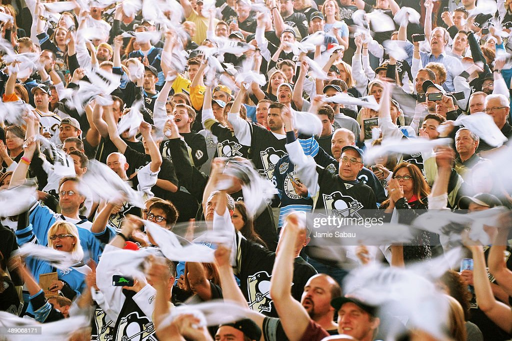Pittsburgh Penguins fans waive their towels to show support as the Penguins take the ice before playing the New York Rangers in Game Five of the Second Round of the 2014 NHL Stanley Cup Playoffs on May 9, 2014 at CONSOL Energy Center in Pittsburgh, Pennsylvania.