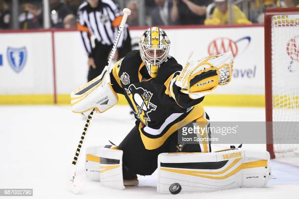 Pittsburgh Penguins Goalie Matt Murray makes a save during the first period The Pittsburgh Penguins won 70 in Game Five of the Eastern Conference...